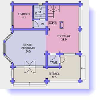 План первого этажа дома 12 на 12
