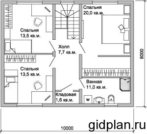 планировка одноэтажного дачного дома 8х10