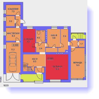 План первого этажа дома с верандой и гаражом