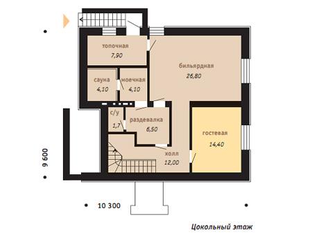 план цокольного этажа дома с баней