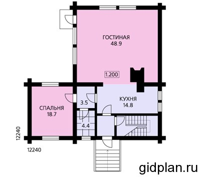 планировка двухэтажного дома 12х12