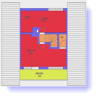 План второго этажа дома 6 на 8 с сауной и баней