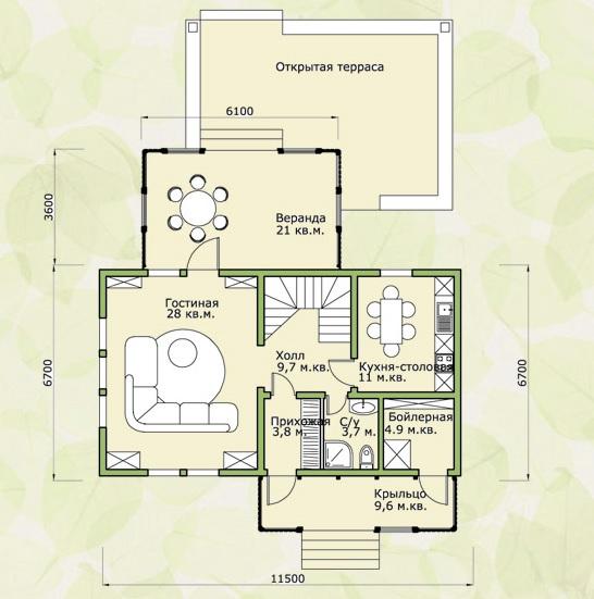 План первого этажа дома в стиле минимализм