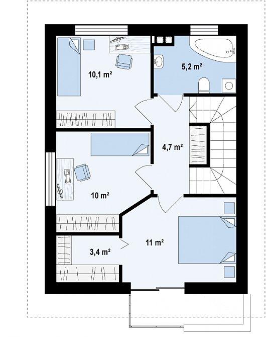 Планировка второго этажа дома с сауной