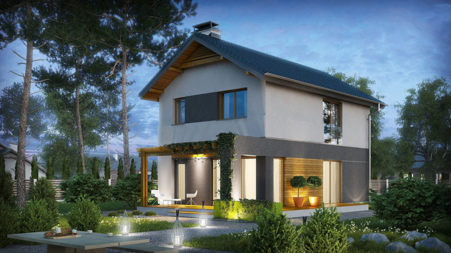 Двухэтажный дом с сауной