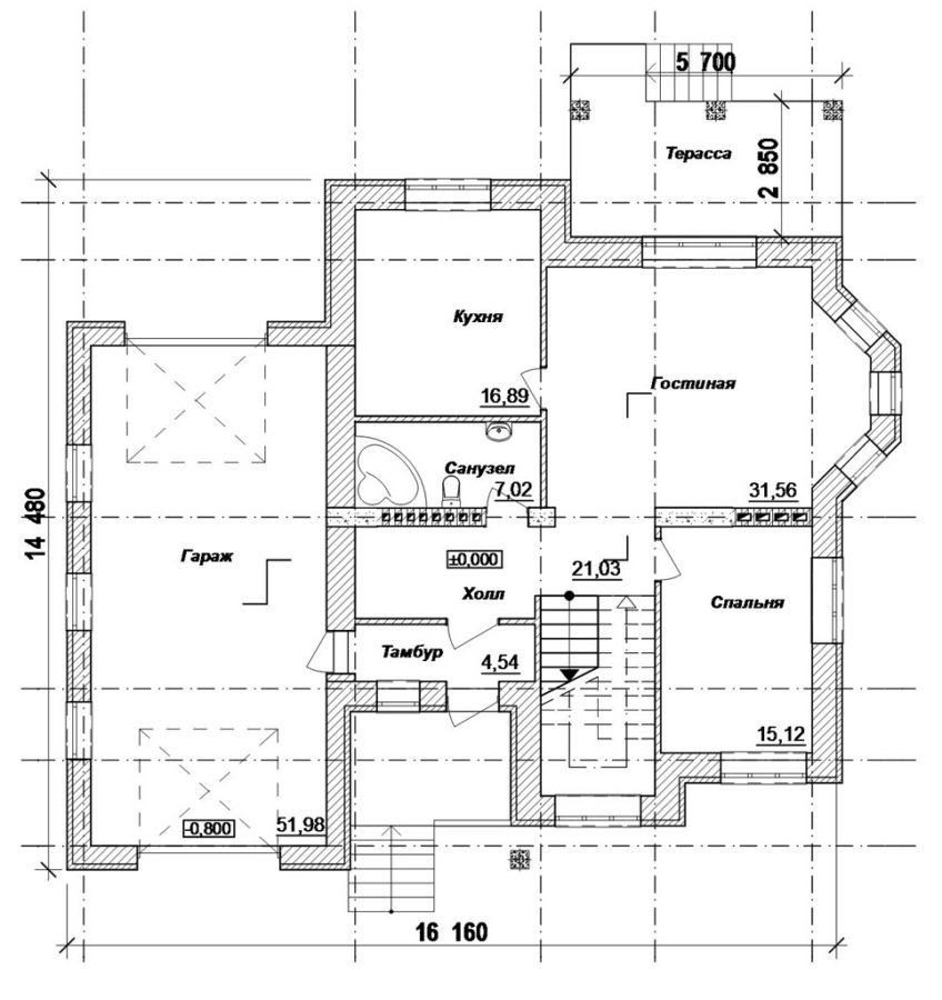 план 1 этажа дома