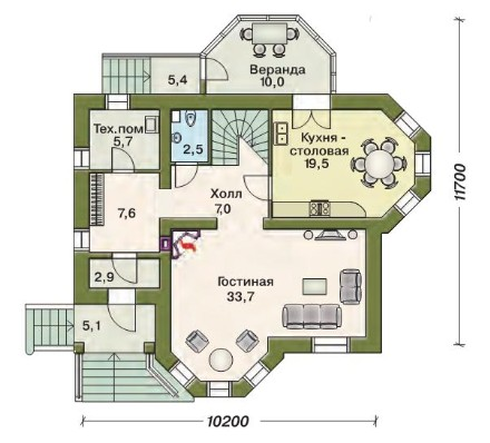 План первого этажа с верандой