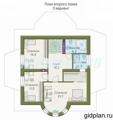 план дачного дома 2 этаж с просторным холлом