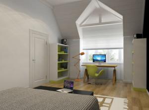 дизайн интерьера спальни-кабинета на втором этаже дома