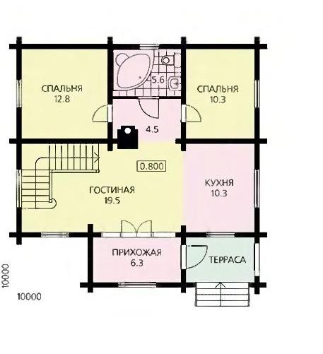 План первого этажа просторного дома