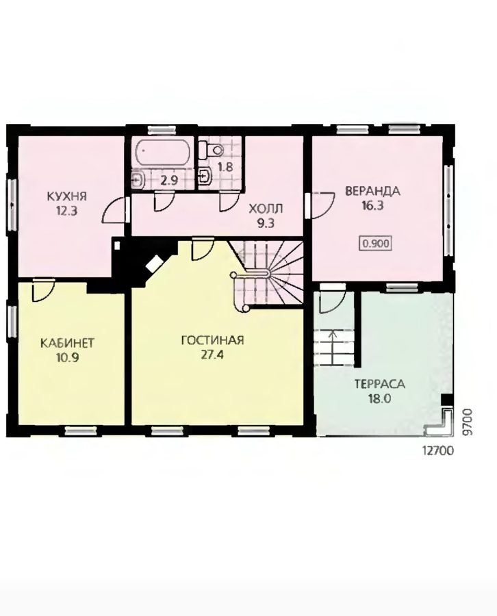 План первого этажа дома с застекленной верандой
