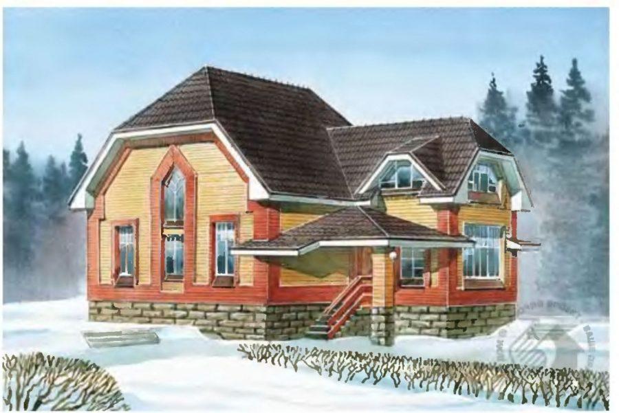 Проект дома 9 на 12 с застекленной верандой