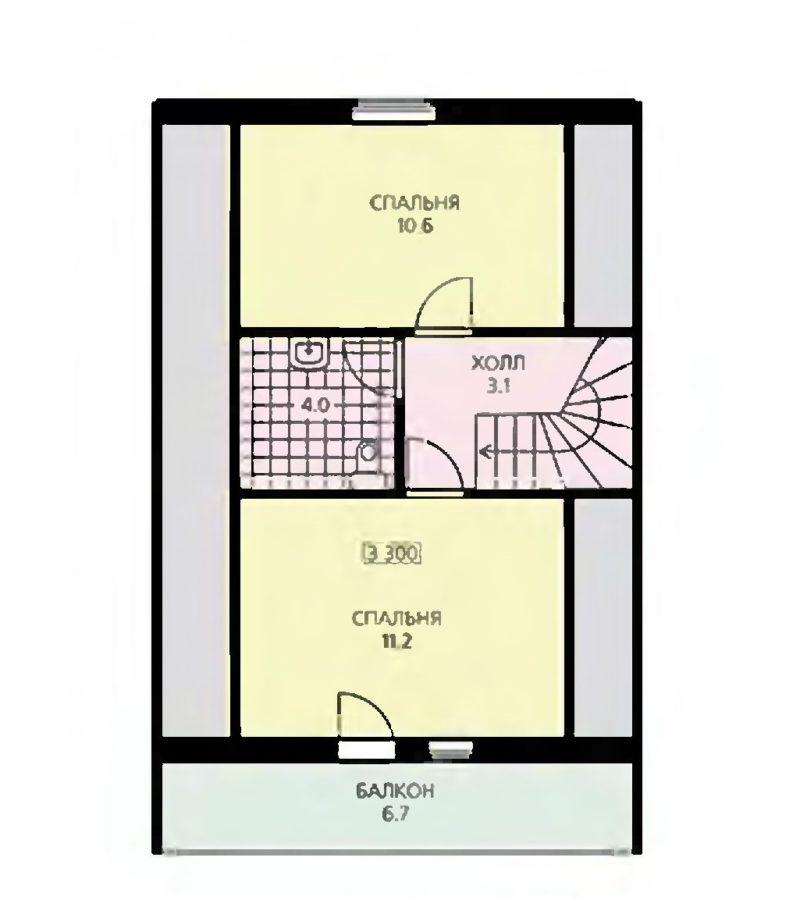 План второго этажа дома 9 на 9 с террасой