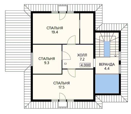 План второго этажа загородного дома с двумя входами
