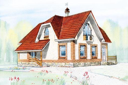 Проект двухэтажного частного жилого дома с 2-мя входами