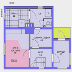 планировка дома 8 на 8 с верандой