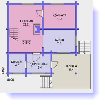План первого этажа дома с угловой террасой