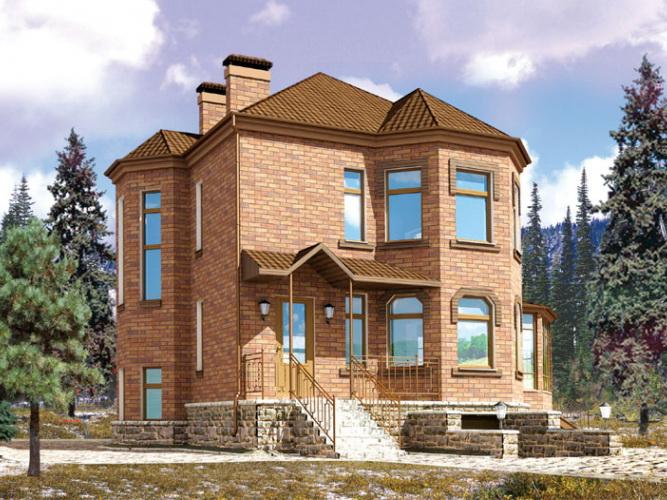 Проект двухэтажного кирпичного дома с цокольным этажом