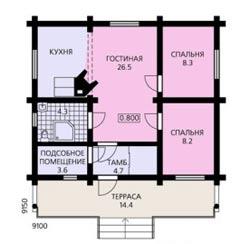Внутренняя планировка одноэтажного дома 9х9