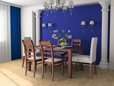 дизайн интерьера кухни в синих тонах