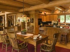 дизайн интерьера деревянной кухни в стиле ретро