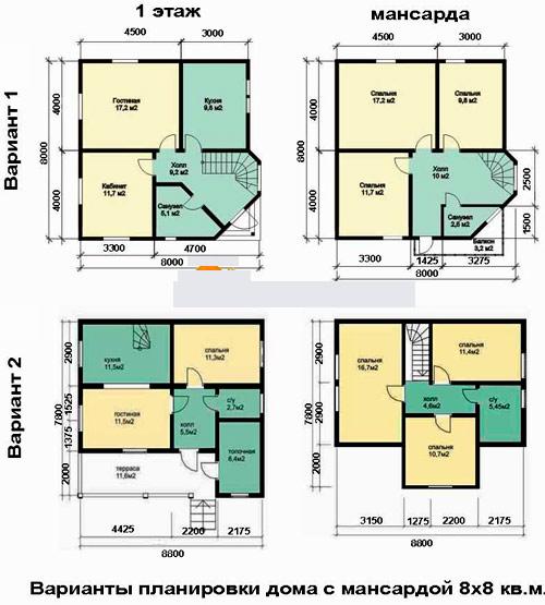 план дома с мансардой 8x8
