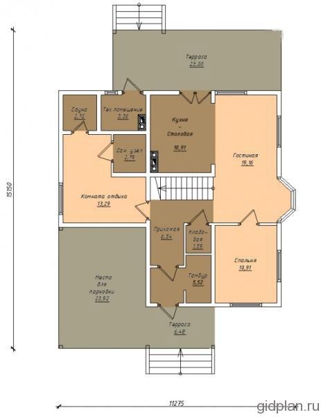 план 1-го этажа дома с навесом для машины