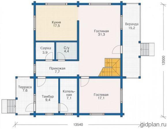 план 1-го этажа с верандой и террасой
