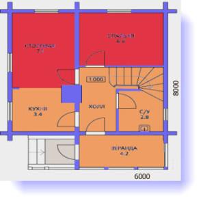 план первого этажа дома 6 на 8