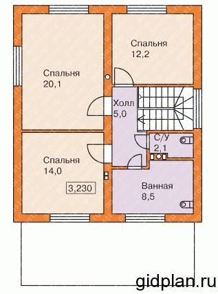 план двухэтажной дачи с 3 спальнями на 2-м этаж