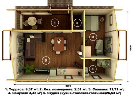 дом студия 6х9