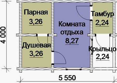 планировка бани 4x5.5