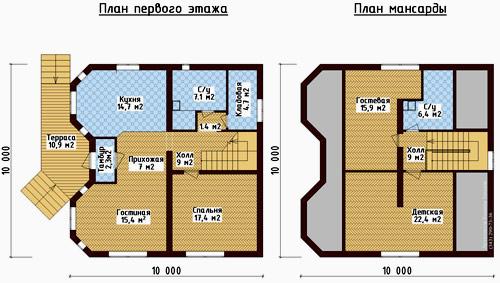 план коттеджа 10x10