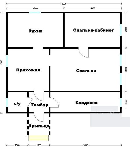 план коттеджа 7x8