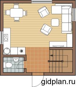 план первого этажа дома 6х6