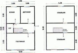 планировка 2 этажного дома с делением на зоны