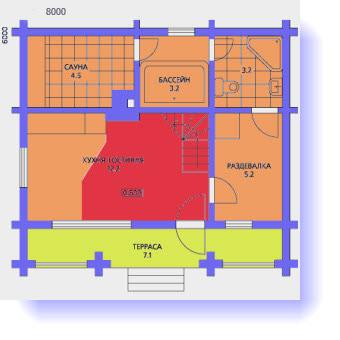 планировка дома 6х8 с сауной