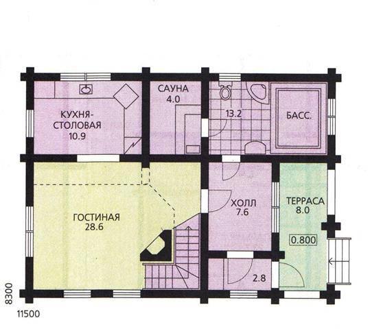 планировка дома 8 на 11