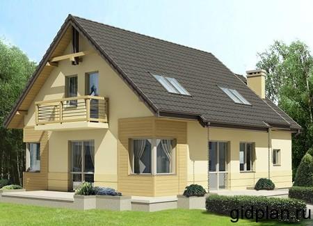 проект двухэтажного дачного дома с балконами