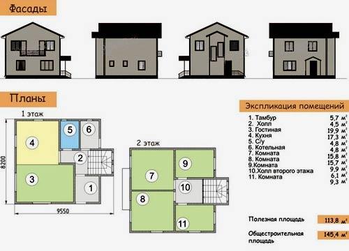 фасады и планировки жилого дома 8х10 метров