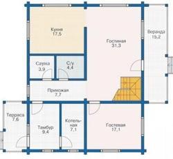 Удобная и простая планировка 1 этажного дома с мансардой