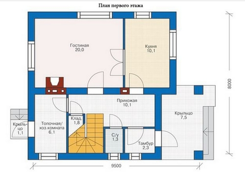 планировка дома 9 на 8