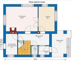 Планировка небольшого дома 8х9 с мансардой