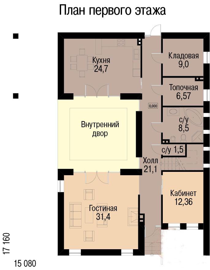 План первого этажа дома для 2 семей