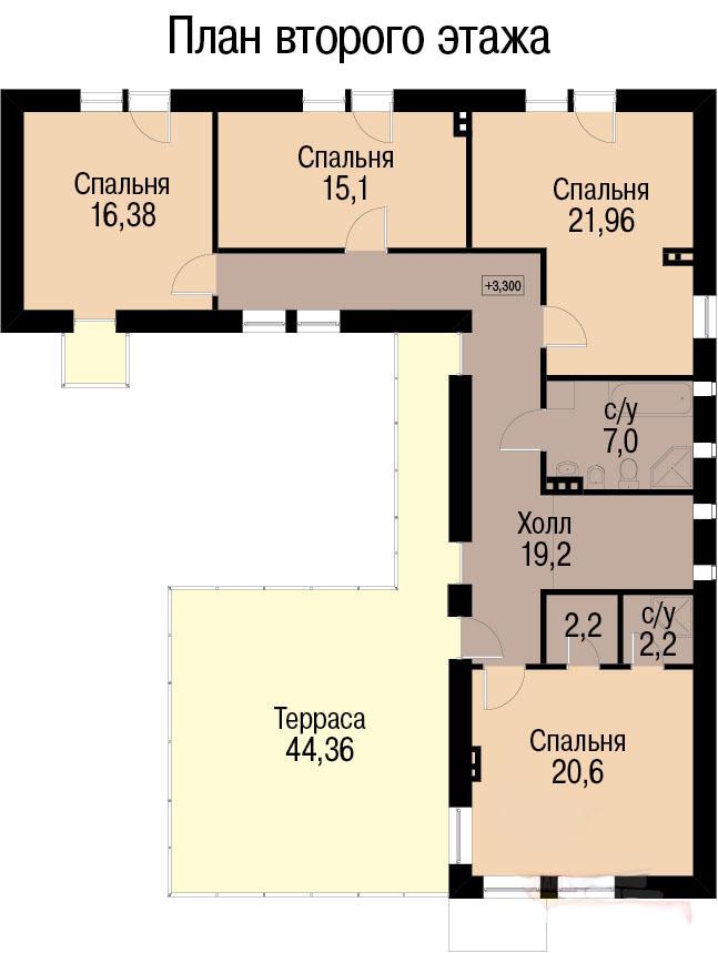 План второго этажа дома для 2 семей