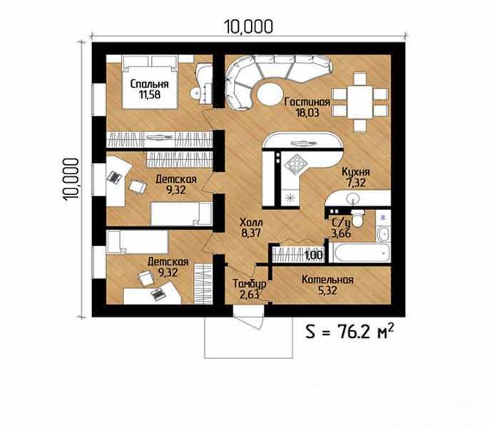 план одноэтажного дома 10 на 10