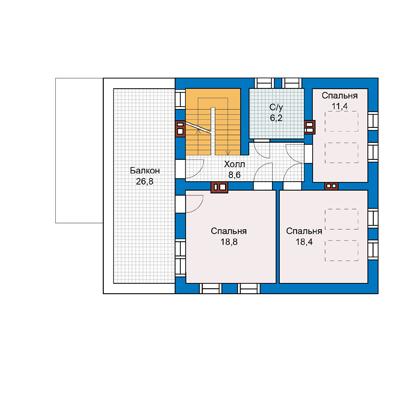 план второго этажа дома 10 на 12