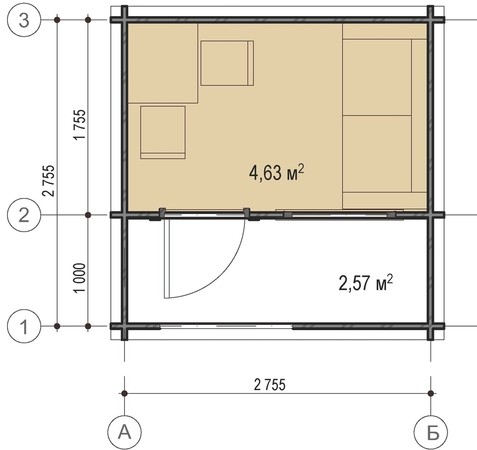 планировка садового домика 3х3