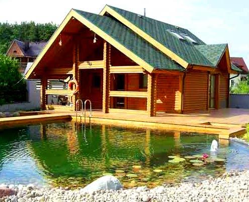 баня с озером