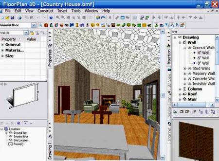 планировка гостиной в FloorPlan 3D
